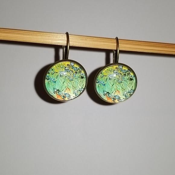 "3/$15💕Van Gogh ""Irises"" fashion earrings"